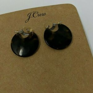 J. Crew Tortoiseshell Earrings Pierced Hoop Round